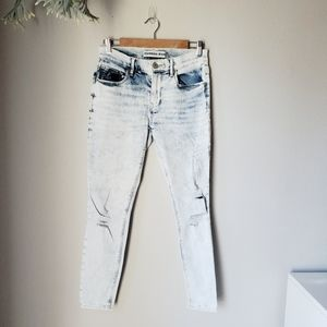 Express | Mid Rise Acid Wash Jeans